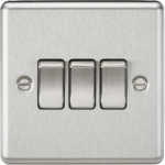 Knightsbridge Brushed Chrome 3G 2W Light Switch CL4BC