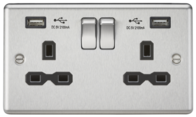 Knightsbridge Brushed Chrome Double Socket with Dual USB Charger CL9224BC