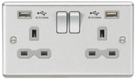 Knightsbridge Brushed Chrome Double Socket with Dual USB Charger CL9224BCG