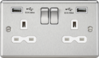 Knightsbridge Brushed Chrome Double Socket with Dual USB Charger CL9224BCW