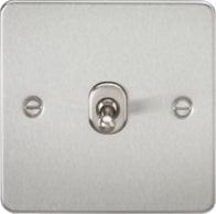 Knightsbridge Brushed Chrome Flat Plate 1G Toggle Switch FP1TOGBC
