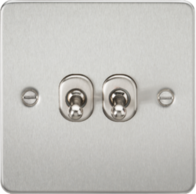 Knightsbridge Brushed Chrome Flat Plate 2G Toggle Switch FP2TOGBC