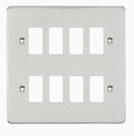 Knightsbridge Brushed Chrome Flat Plate 8G Grid Faceplate GDFP008BC