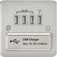Knightsbridge Brushed Chrome Flat Plate Multi USB Charger Outlet FPQUADBC