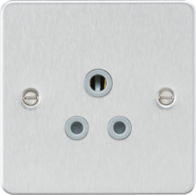 Knightsbridge Brushed Chrome Flat Plate Round Pin Socket FP5ABC