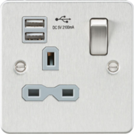 Knightsbridge Brushed Chrome Flat Plate Single Socket with Dual USB Charger FPR9901BC