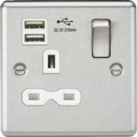 Knightsbridge Brushed Chrome Single Socket with Dual USB Charger CL91BCW