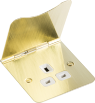 Knightsbridge Flat Plate 13A Unswitched Floor Socket Brushed Brass FPR7UBBW