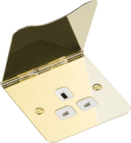 Knightsbridge Flat Plate 13A 1G Unswitched Floor Socket Polished Brass FRP7UPBW