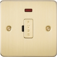Knightsbridge Flat Plate Brushed Brass 13A Fused Spur Unit with Neon FP6000NBB