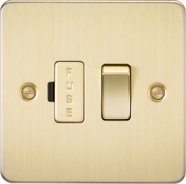 Knightsbridge Flat Plate Brushed Brass 13A Switched Fused Spur Unit FP6300BB image 1