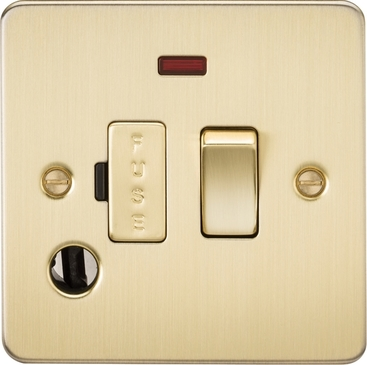 Knightsbridge Flat Plate Brushed Brass 13A Switched Fused Spur with Neon & Flex Outlet FP6300FBB image 1