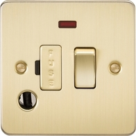 Knightsbridge Flat Plate Brushed Brass 13A Switched Fused Spur with Neon & Flex Outlet FP6300FBB