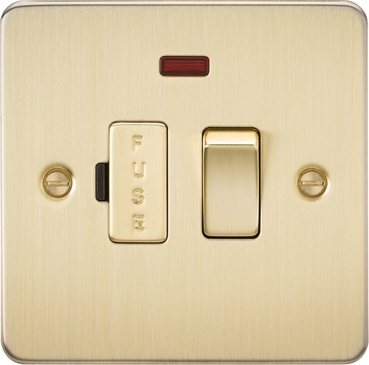 Knightsbridge Flat Plate Brushed Brass 13A Switched Fused Spur with Neon FP6300NBB image 1