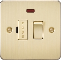 Knightsbridge Flat Plate Brushed Brass 13A Switched Fused Spur with Neon FP6300NBB