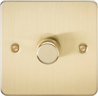 Knightsbridge Flat Plate Brushed Brass 1G 2 Way 5-150W LED Trailing Edge Dimmer FP2181BB image 1
