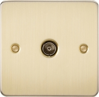 Knightsbridge Flat Plate Brushed Brass 1G TV Coax Outlet FP0100BB