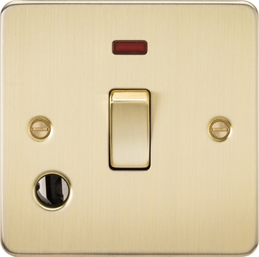 Knightsbridge Flat Plate Brushed Brass 20A 1G DP Switch with Neon & Flex Outlet FP8341FBB image 1