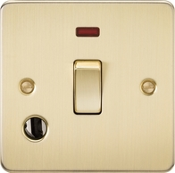 Knightsbridge Flat Plate Brushed Brass 20A 1G DP Switch with Neon & Flex Outlet FP8341FBB