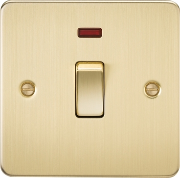 Knightsbridge Flat Plate Brushed Brass 20A 1G DP Switch with Neon FP8341NBB image 1