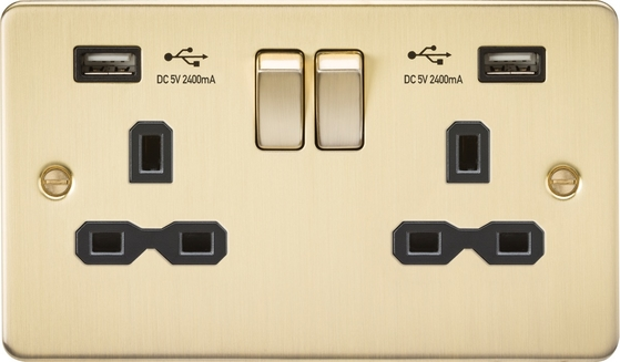 Knightsbridge Flat Plate Brushed Brass Double Socket with Dual USB Charger FPR9224BB image 1