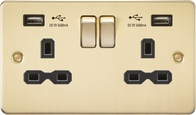 Knightsbridge Flat Plate Brushed Brass 13A 2 Gang Switched Socket with Dual USB FPR9224BB