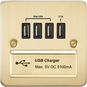 Knightsbridge Flat Plate Brushed Brass 1G Quad USB Charger Outlet 5V DC 5.1A FPQUADBB image 1