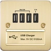 Knightsbridge Flat Plate Brushed Brass 1G Quad USB Charger Outlet 5V DC 5.1A FPQUADBB