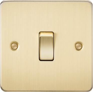 Knightsbridge Flat Plate Brushed Brass 10A 1G Intermediate Switch FP1200BB image 1