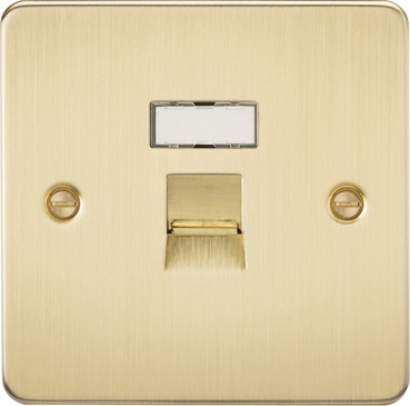 Knightsbridge Flat Plate Brushed Brass RJ45 CAT5E Network Outlet FPRJ45BB image 1