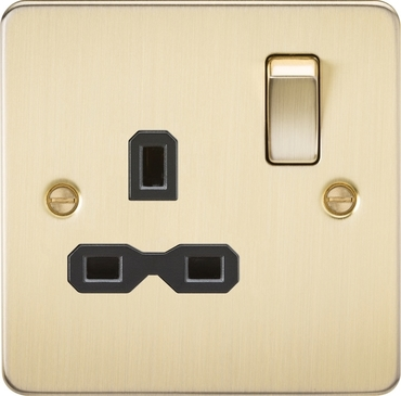 Knightsbridge Flat Plate Brushed Brass 13A 1G DP Switched Socket FPR7000BB image 1