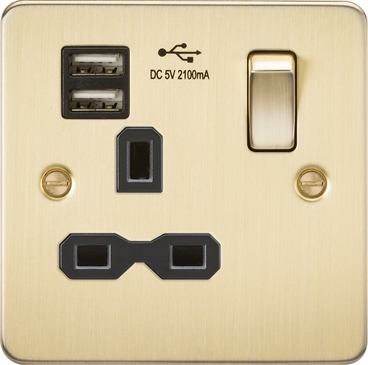 Knightsbridge Flat Plate Brushed Brass 13A 1G Switched Socket with Dual USB FPR9901BB image 1