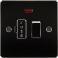Knightsbridge Gunmetal Flat Plate 13A Switched Fused Spur Unit with Neon FP6300NGM