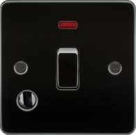 Knightsbridge Gunmetal Flat Plate 20A 1G DP Switch with Neon & Flex Outlet FP8341FGM