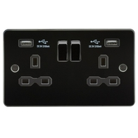 Knightsbridge Gunmetal Flat Plate Double Socket with Dual USB Charger FPR9902GM
