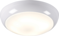 Knightsbridge IP44 28W HF Polo bulkhead with Opal Diffuser, White Base and Microwave Sensor TPB28MSHF