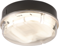 Knightsbridge IP65 16W HF Round Bulkhead with Prismatic Diffuser and Black Base TPR16BPHF