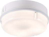 Knightsbridge IP65 28W HF Round Emergency Bulkhead with Opal Diffuser and White Base TPR28WOEMHF