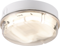 Knightsbridge IP65 28W HF Round Emergency Bulkhead with Prismatic Diffuser and White Base TPR28WPEMHF