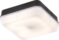Knightsbridge IP65 28W HF Square Emergency Bulkhead with Opal Diffuser and Black Base TPS28BOEMHF