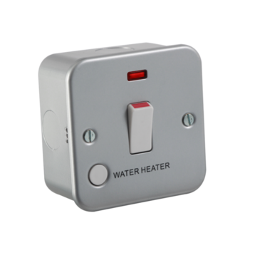 Knightsbridge Metal Clad M8341WH 1Gang 20A DP Switch with Neon marked Water Heater