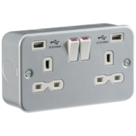 Knightsbridge Metal Clad MR9224 13Amp Twin Socket with USB