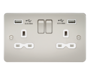 Knightsbridge Pearl Flat Plate Double Socket with Dual USB Charger FPR9902PLW