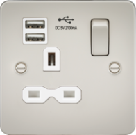 Knightsbridge Pearl Flat Plate Single Socket with Dual USB Charger FPR9901PLW