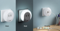 Knightsbridge Plug in LED night light with dual USB charger ports 5V DC 2.1A (shared) NL002