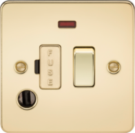 Knightsbridge Polished Brass Flat Plate 13A Switched Fused Spur Unit with Neon & Flex Outlet FP6300FPB