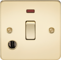 Knightsbridge Polished Brass Flat Plate 20A 1G DP Switch with Neon & Flex Outlet FP8341FPB