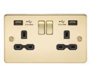 Knightsbridge Polished Brass Flat Plate Double Socket with Dual USB Charger FPR9902PB