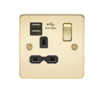 Knightsbridge Polished Brass Flat Plate Sinlge Socket with Dual USB Charger FPR9901PB