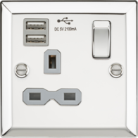 Knightsbridge Polished Chrome 1G Switched Socket with Dual USB Charger CV91PC